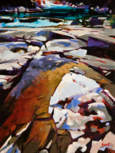 """SOLD """"Squamish Tributary,"""" by Mike Svob 12 x 16 – acrylic $1265 Unframed"""