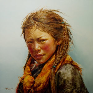 "SOLD ""Standing in Winter,"" by Donna Zhang 36 x 36 – oil $7750 Custom framed $7120 with standard frame"