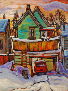 "SOLD ""Stay Home,"" by Ed Loenen 12 x 16 – oil $825 Framed"