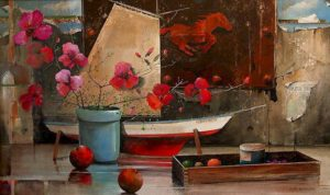 "SOLD ""Still Life with Blossoms,"" by Mark Fletcher 24 x 40 – acrylic $2830 Framed"