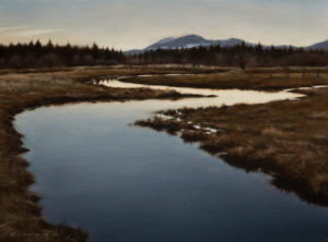 "SOLD ""Stillness at Nightfall,"" by Ray Ward 9 x 12 – oil $750 Unframed"