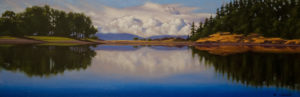 "SOLD ""Stillness on the Lagoon,"" by Ray Ward 8 x 24 – oil $1100 Framed $1120 Custom framed"