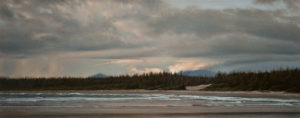 "SOLD ""Storm Break, Coastal Dunes,"" by Ray Ward 16 x 40 – oil $2220 Unframed"