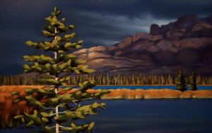 "SOLD ""Storm Clouds Near Jasper,"" by Ray Ward 7 x 11 – oil $540 Unframed"