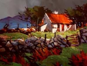 "SOLD ""Stormy Day in Connamara,"" by Michael O'Toole 14 x 18 – acrylic $940 Framed"