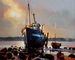 "SOLD ""Stranded in Masset,"" by Michael O'Toole 24 x 30 – acrylic $2370 Unframed"