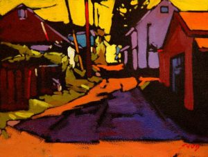 """SOLD """"Strathcona Pattern,"""" by Mike Svob 12 x 16 – oil $1115 Framed"""