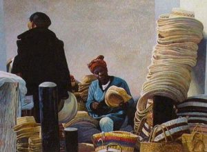 "SOLD ""Straw Market,"" by Alan Wylie 15 x 20 – watercolour $2800 Framed"