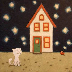 "SOLD ""Stray Cat Finds a Home,"" by Peter Wyse 18 x 18 – acrylic $725 (unframed panel  with 1 1/2"" wide edging)"