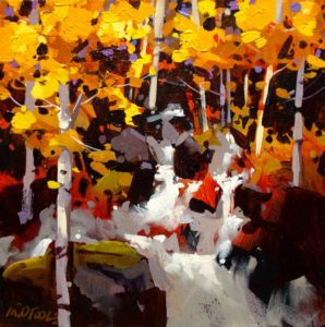 """SOLD """"Stream and Poplars,"""" by Michael O'Toole 12 x 12 – acrylic $650 (thick canvas wrap without frame)"""