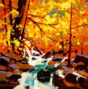 "SOLD ""Streaming Colours (Algonquin Park),"" by Michael O'Toole 12 x 12 – acrylic $560 (thick canvas wrap without frame)"