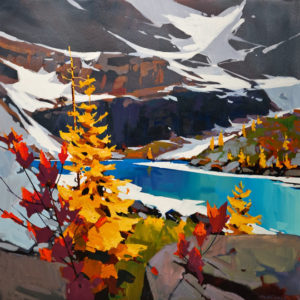"SOLD ""Striking Colours at Lake Oesa,"" by Michael O'Toole 30 x 30 – acrylic $3200 Unframed"