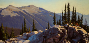 "SOLD ""Summer Alpine, Revelstoke,"" by Ray Ward 12 x 24 – oil $1200 Unframed"