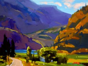 """SOLD """"Summer Breeze (Skaha Lake),"""" by Mike Svob 12 x 16 – acrylic $1115 Framed"""