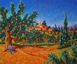 """SOLD """"Summertime,"""" by Michael Stockdale 20 x 24 – acrylic $1195 Framed"""
