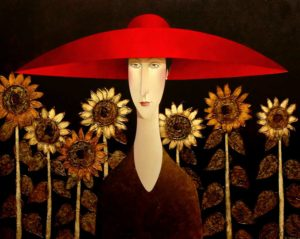 "SOLD ""Sunflowers,"" by Danny McBride 48 x 60 – acrylic $12,500  (thick canvas wrap without frame)"