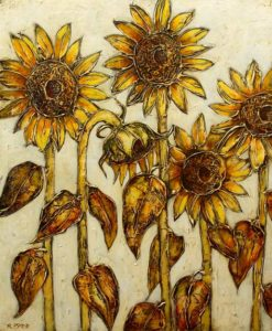 "SOLD ""Sunflowers in Light,"" by Danny McBride 30 x 36 – acrylic $3850 Unframed"