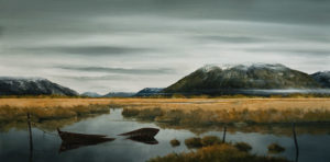 "SOLD ""The Sunken Boat,"" by Mark Fletcher 24 x 48 – acrylic $2970 Unframed"