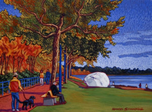 "SOLD ""Sunny Fall Day, White Rock,"" by Michael Stockdale 9 x 12 – acrylic $420 Unframed"