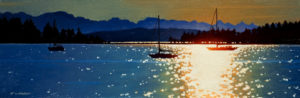 "SOLD ""Sunrise on the Spit – Study,"" by Ray Ward 5 x 15 – oil $525 Unframed"
