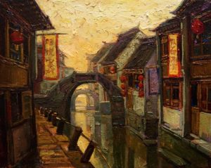 "SOLD ""Sunrise Through the Canal,"" by Dongmin Lai 8 x 10 – oil $800 Framed"