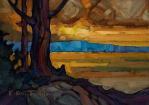 "SOLD ""Sunset,"" by Phil Buytendorp 5 x 7 – oil $490 Framed"