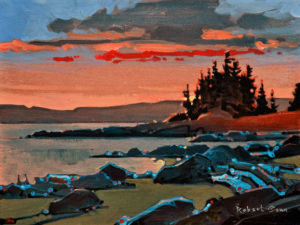 "SOLD ""Sunset on Cortes, Hollyhock,"" by Robert Genn 12 x 16 – acrylic $3100 Unframed"