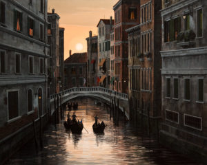 "SOLD ""Sunset in Venice,"" by Bill Saunders 24 x 30 – acrylic $4840 Unframed"