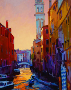 """SOLD """"Sunset in Venice,"""" by Mike Svob 24 x 30 – acrylic $3560 Framed"""