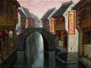 "SOLD ""Sunset Walk, Suzhou,"" by Dongmin Lai 9 x 12 – oil $950 Framed"