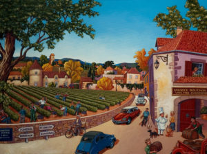 "SOLD ""Sunshine Over the Vineyards,"" by Michael Stockdale 30 x 40 – acrylic $2100 Unframed"