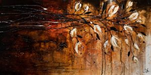 "SOLD ""Surrender,"" by Laura Harris 24 x 48 – acrylic $3620 (thick canvas wrap without frame)"