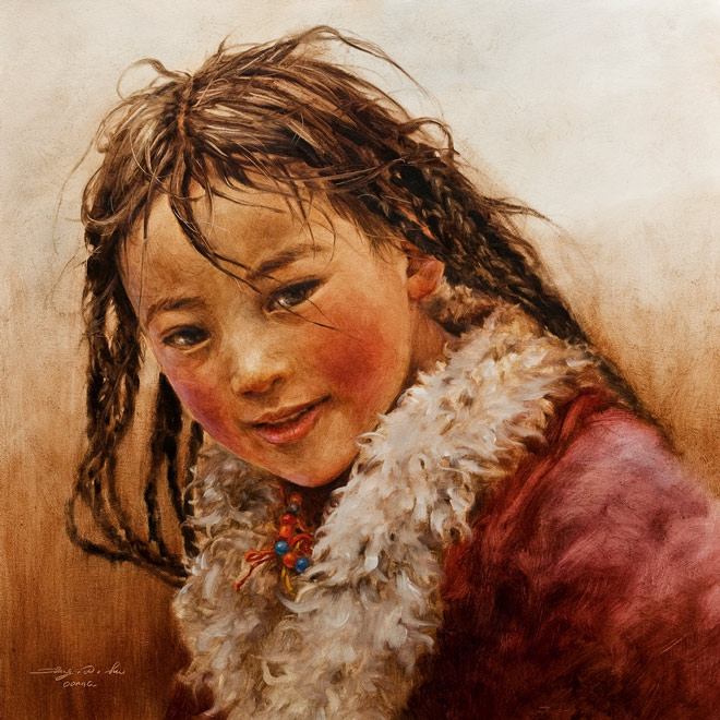 SOLD ``Tibetan Sweet Girl,`` by Donna Zhang 24 x 24 - oil $4300 Unframed