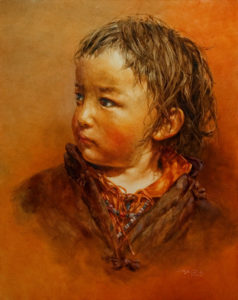 "SOLD ""Sweet Warmth,"" by Donna Zhang 24 x 30 – oil $5200 Custom framed $5140 with standard frame"