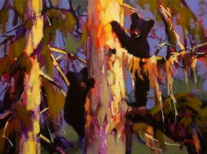 """SOLD """"Sylvia's Cubs – Study,"""" by Mike Svob 12 x 16 – acrylic $1115 Framed"""