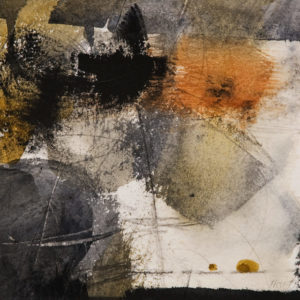 "SOLD ""Table Top Abstraction,"" by Susan Flaig 6 1/2 x 6 1/2 - watercolour $395 in show frame"