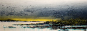 "SOLD ""Taking Flight,"" by Laura Harris 18 x 48 – acrylic $2720 (thick canvas wrap without frame)"
