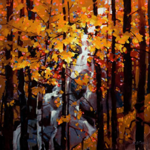"SOLD ""Tangled Autumn,"" by Michael O'Toole 24 x 24 – acrylic $2000 Unframed"