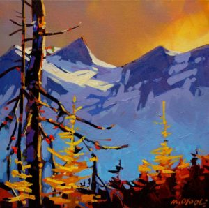 "SOLD ""Tantalus Golden Hour,"" by Michael O'Toole 12 x 12 – acrylic $650 (thick canvas wrap without frame)"