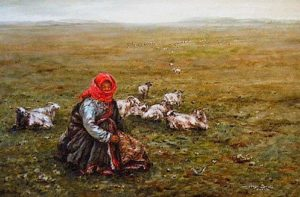 "SOLD ""Tending the Herd,"" by Donna Zhang 20 x 30 – oil"