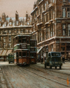 "SOLD ""Tenements and Trams,"" by Alan Wylie 8 x 10 – oil $1400 Framed"