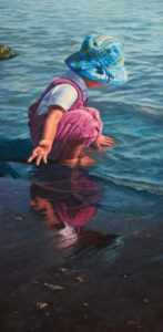 """SOLD """"Testing the Water,"""" by Don Li 12 x 24 – oil $1750 Unframed"""