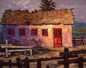 "SOLD ""Thatch and Plaster,"" by Phil Buytendorp 16 x 20 – oil $1040 Framed"
