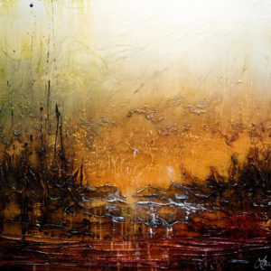 """SOLD """"These Places I Dream,"""" by Laura Harris 36 x 36 – acrylic $4075 (thick canvas  wrap without frame)"""