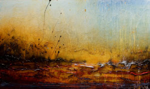 "SOLD ""They Came for the Rain,"" by Laura Harris 36 x 60 – acrylic $5140 (thick canvas wrap without frame)"
