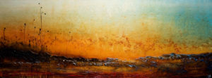 "SOLD ""This Horizon Shines,"" by Laura Harris 36 x 96 – acrylic $9900 (thick canvas wrap without frame)"