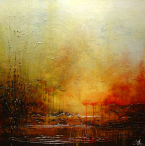 "SOLD ""This Place,"" by Laura Harris 48 x 48 – acrylic $6470 (thick canvas wrap without frame)"