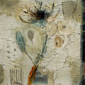 "SOLD ""Thistle Flower,"" by Susan Flaig 12 x 12 – mixed media $485 Unframed"