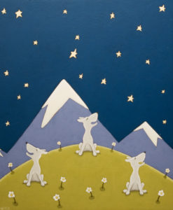 "SOLD ""A Three Dog Night,"" by Peter Wyse 20 x 24 – acrylic $1325 (unframed panel  with 1 1/2"" wide edging)"