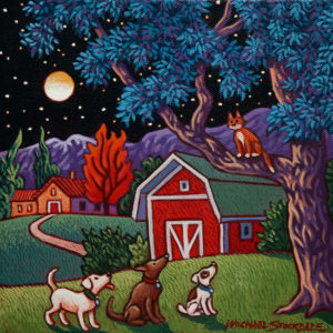 "SOLD ""Three Dogs Night,"" by Michael Stockdale 8 x 8 – acrylic $335 Unframed"